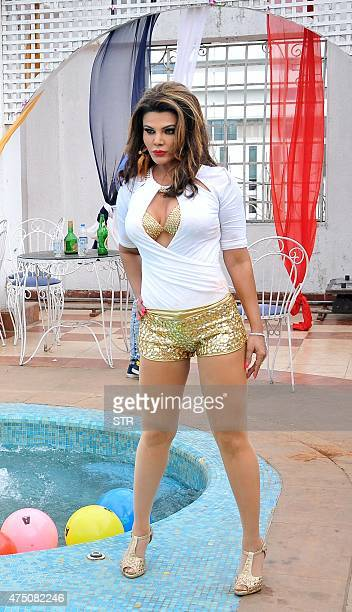 This photo taken on May 28 2015 shows Indian politician dancer and Bollywood actress Rakhi Sawant posing as she shoots a music video for her song...