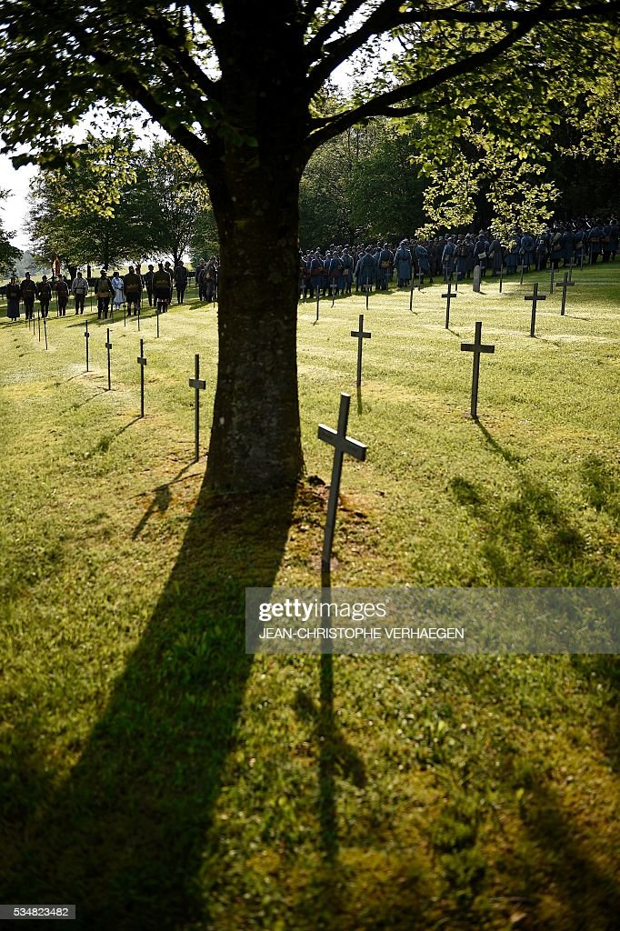 This photo taken on May 28, 2016 shows the German WWI cemetery of Troyon, eastern France, during the 100-year commemoration of WWI's Battle of Verdun. VERHAEGEN