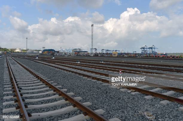 This photo taken on May 30 2017 shows the train tracks of the container terminal of the port of Mombasa More than a century after a colonial railway...