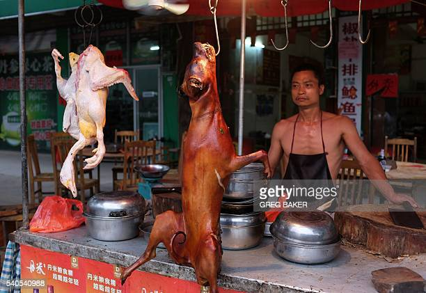 This photo taken on May 9 2016 shows a chef standing behind a roasted dog outside a restaurant in Yulin in China's southern Guangxi region...