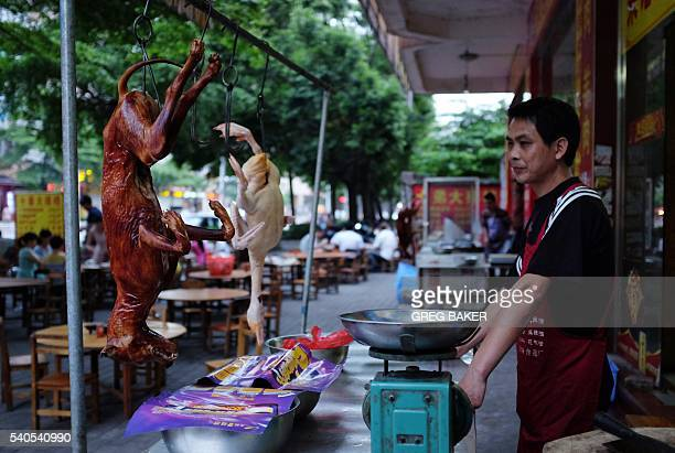 This photo taken on May 9 2016 shows a chef waiting for customers behind a roasted dog outside a restaurant in Yulin in China's southern Guangxi...