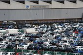 This photo taken on November 16 shows hundreds of cars at the Volkswagen plant in Port Elizabeth in South Africa Some 30000 South Africa's auto...
