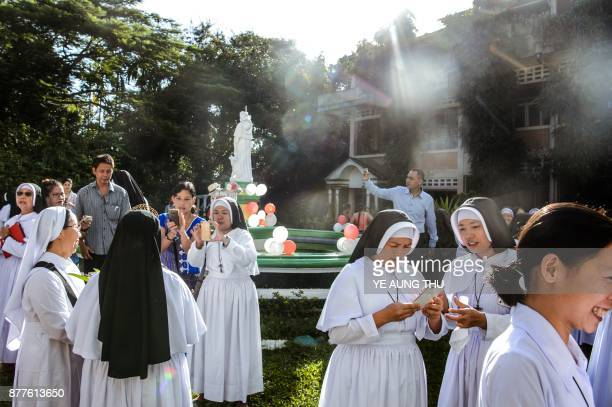 This photo taken on November 17 2017 shows nuns taken part in a jubilee celebration marking the anniversary of when they entered or professed vows in...