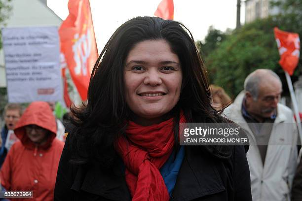 This photo taken on November 2 2013 shows Raquel Garrido national secretary of France's Left Party taking part in a demonstration organised by unions...