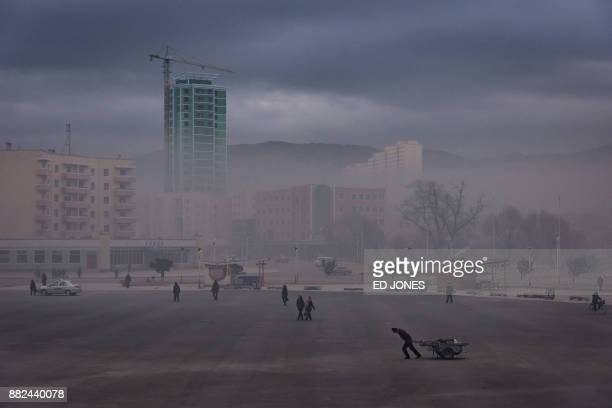 This photo taken on November 21 2017 shows a general view of a public sqaure in Rason At the northeastern tip of North Korea where the isolated...