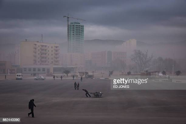 TOPSHOT This photo taken on November 21 2017 shows a general view of a public sqaure in Rason At the northeastern tip of North Korea where the...