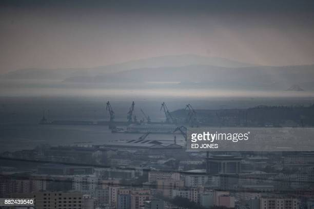 This photo taken on November 21 2017 shows a general view of the North Korean city of Rason At the northeastern tip of North Korea where the isolated...