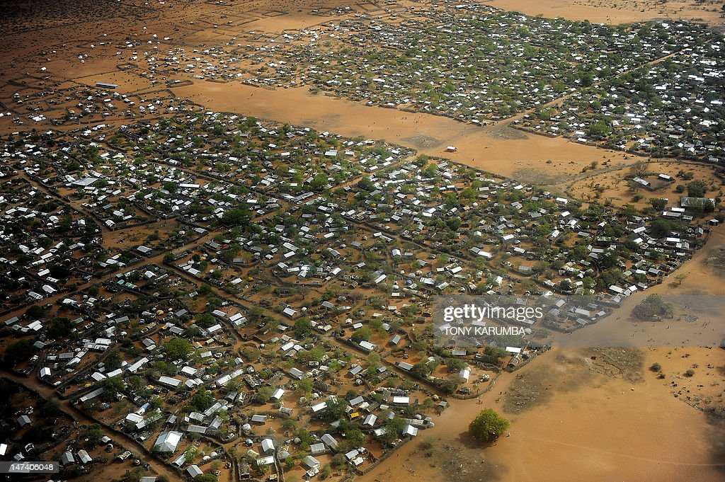This photo taken on October 13 shows a general view of the Dadaab refugee camp in eastern Kenya the largest refugee camp in the world Gunmen...
