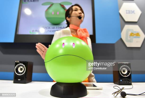 This photo taken on October 2 2017 shows communication robot 'Gundam Concierge Haro' used to communicate with users about topics by anime Mobile Suit...