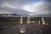 This photo taken on October 27 2008 shows the remains of a whaling station on Deception Island Antarctica AFP PHOTO / MARTIN BUREAU