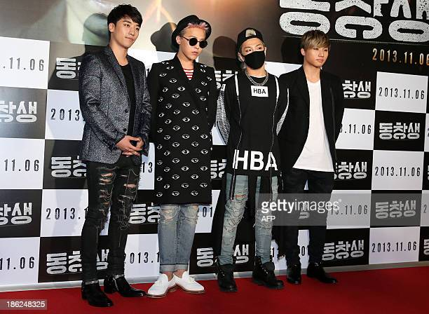 This photo taken on October 29 2013 shows South Korean KPOP band 'Big Bang' attending a premiere of the film 'Alumni' in Seoul REPUBLIC OF KOREA OUT...