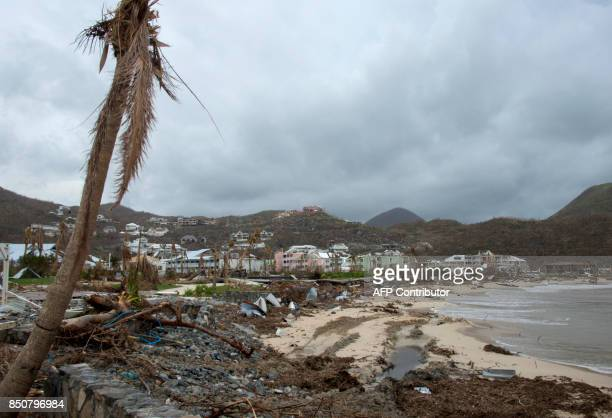 This photo taken on September 20 2017 damage inflicted on the shoreline of Anse Marcel on the French Caribbean island of SaintMartin after the...
