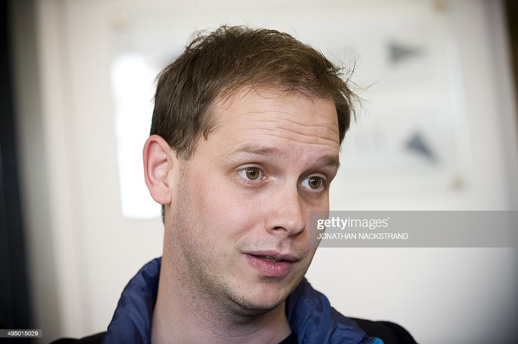 This photo taken on September 28 2010 shows one of the cofounders of the filesharing website The Pirate Bay Peter Sunde waiting at the Swedish Appeal...