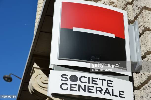 This photo taken on September 28 2015 in Paris shows the logo of French bank Societe Generale Societe Generale is considering to close 400 agencies...