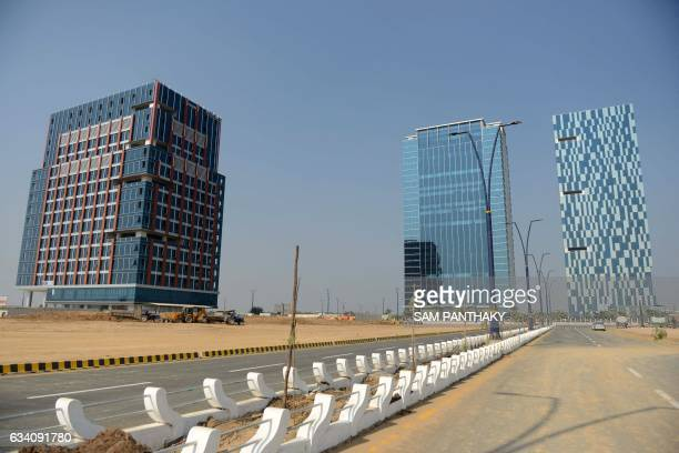 This photograph taken on January 23 shows The Hiranandani Signature Tower which houses India's first India International Exchange a 100 per cent...