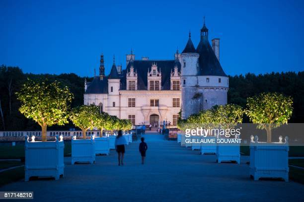 This photograph taken on July 16 shows a night time view of Chateau Chenonceau on the River Cher some 30kms east of Tours Built in 1513 by Katherine...