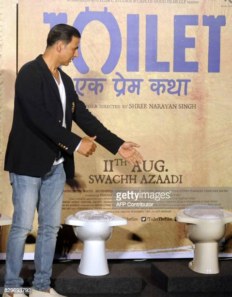 This photograph taken on July 27 2017 shows Indian Bollywood actor Akshay Kumar attending a press conference for the Hindi film 'Toilet Ek Prem...