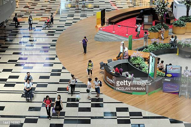 This photograph taken on May 9 2012 shows the transit area of Singapore's Changi international airport terminal 3 Singapore's Changi Airport handled...