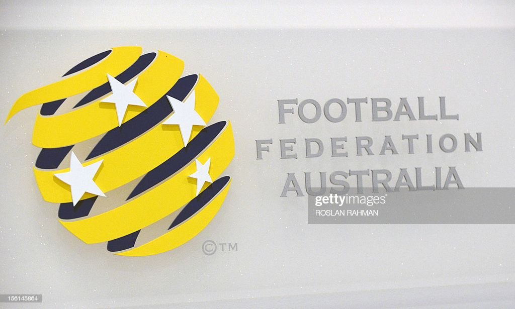 This photograph taken on November 12, 2012 shows the logo for Football Federation Australia (FFA) at its offices in Sydney. Football Federation Australia (FFA) on November 12, introduced its new CEO, David Gallop, a former NRL boss.