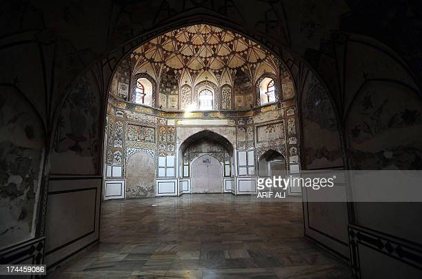 This photograph taken on October 29 2011 shows an inside view of the Shahi Hamam built during the Mughal era in the walled city in Lahore The...