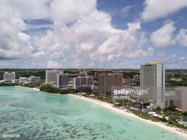 This photograph taken using a drone shows a beach in the Tamuning area of Guam on August 15 2017 Guam officials were 'ecstatic' on August 15 as North...