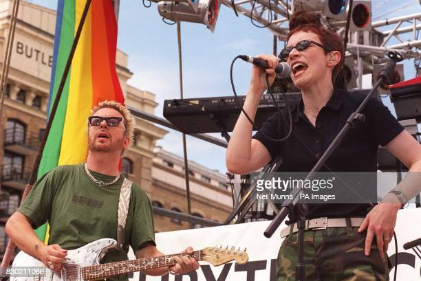 This pic can only be run with this news story Annie Lennox and Dave Stewart of the Eurythmics promoting Amnesty International and Greenpeace on their...