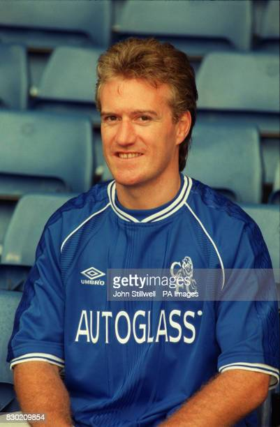 This picture can only be used in an editorial context New Chelsea signing and French World Cup winning captain Didier Deschamps at Stamford Bridge...