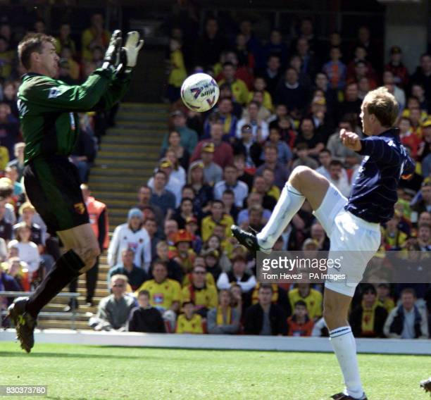 This picture can only be used in the context of an editorial feature Manchester United's Jordi Cruyff beats Watford's goalkeeper Alec Chamberlain to...