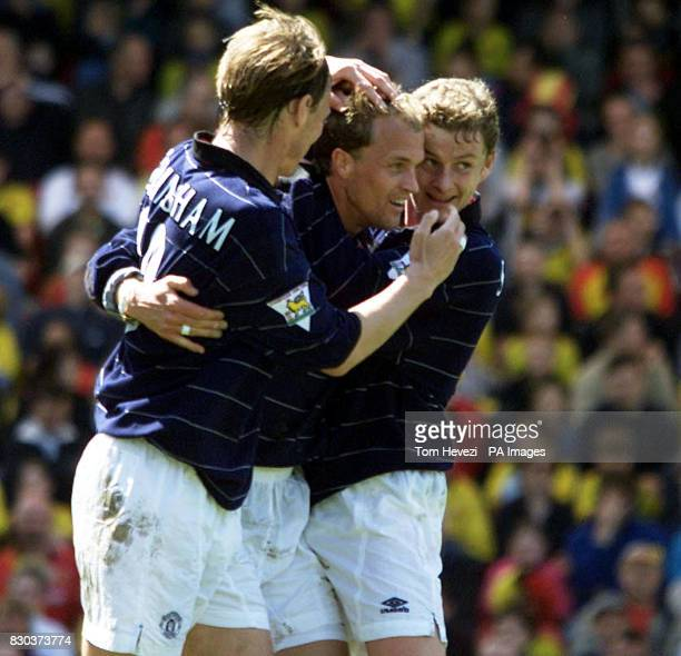 This picture can only be used in the context of an editorial feature Manchester United's Jordi Cruyff celebrates his winning goal with team mates...
