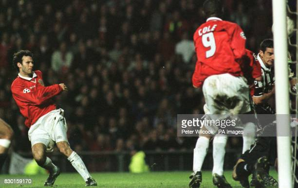 This picture can only be used within the context of an editorial feature Manchester United's Ryan Giggs scores the equalizer against Juventus in the...