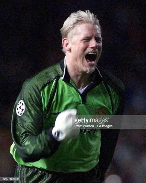 This picture can only be used within the context of an editorial feature Manchester United's Peter Schmeichel celebrates his sides last gasp...