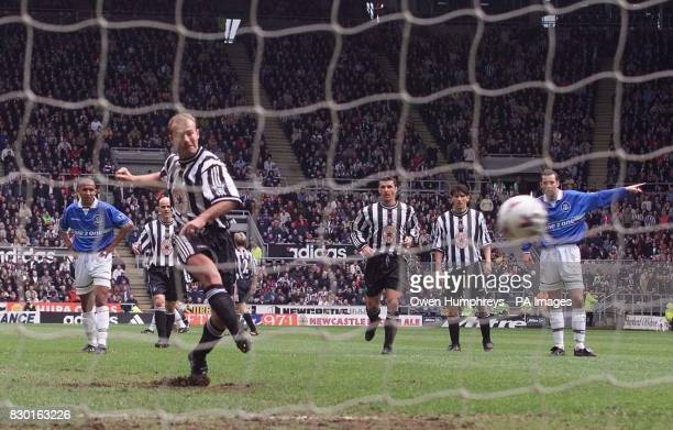 This picture can only be used within the context of an editorial feature Newcastle United's Alan Shearer has his penalty saved by Everton goalkeeper...