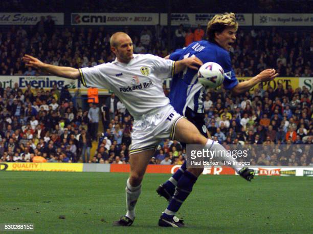 This picture can only be used within the context of an editorial feature Leed United's Danny Mills comes in hard on Sheffield Wednesday's Petter Rudi...