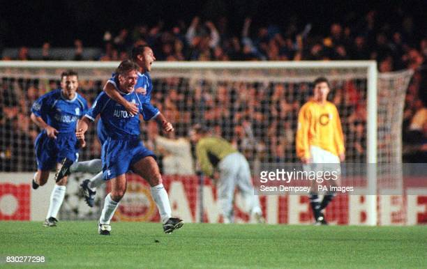 This picture can only be used within the context of an editorial feature Chelsea's Didier Deschamps is congratulated by Dennis Wise after scoring...