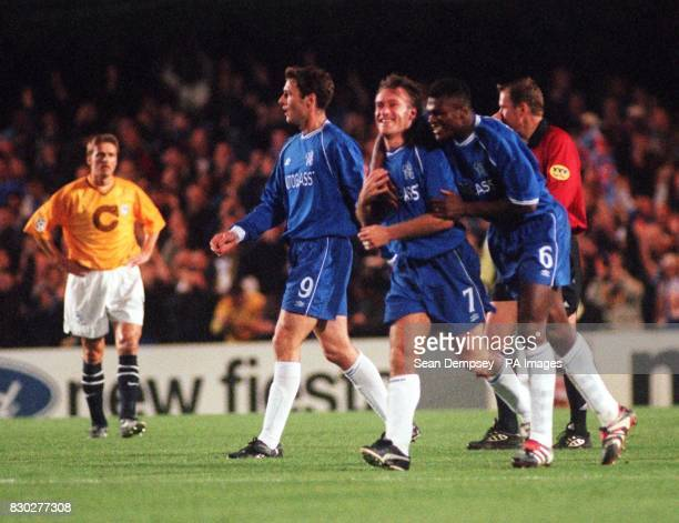This picture can only be used within the context of an editorial feature Chelsea's Didier Deschamps is congratulated by team mate Marcel Desailly...