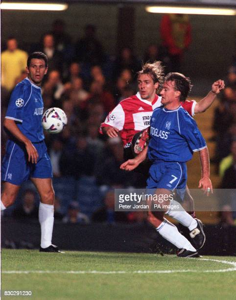 This picture can only be used within the context of an editorial feature Chelsea's Didier Deschamps and Feyenoord's Paul Bosvelt in action during...