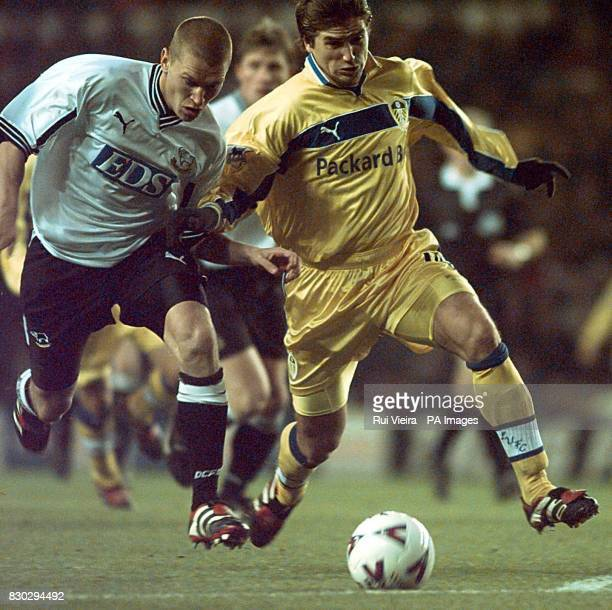 This picture can only be used within the context of an editorial feature Leed's United's Harry Kewell takes on Derby County's Seth Johnson during...