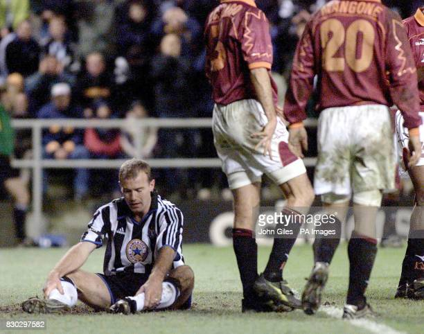 This picture can only be used within the context of an editorial feature Alan Shearer of Newcastle United looks disappointed as AS Roma walk off...