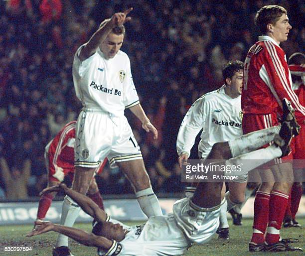 This picture can only be used within the context of an editorial feature Leed's captain Lucas Radebe celebrates on the floor after heading in Leeds...