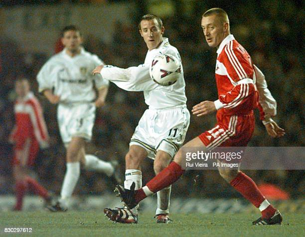 This picture can only be used within the context of an editorial feature Leed's Lee Bowyer puts the ball past Spartak's captain Andrei Tikhonov...