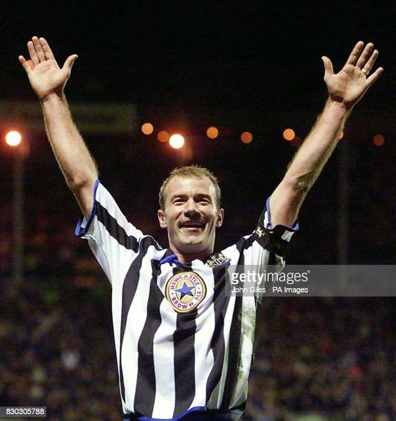 This picture can only be used within the context of an editorial feature Alan Shearer celebrates his second and Newcastle United's sixth goal against...