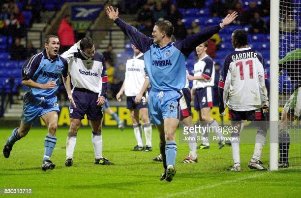 This picture can only be used within the context of an editorial feature Clint Hill of Tranmere Rovers celebrates his opening goal against Bolton in...