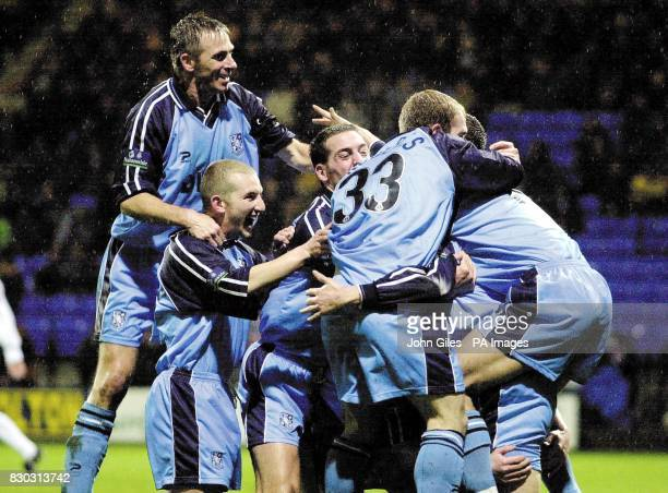 This picture can only be used within the context of an editorial feature Happy Tranmere Rovers as they celebrate the goal of Clint Hill against...