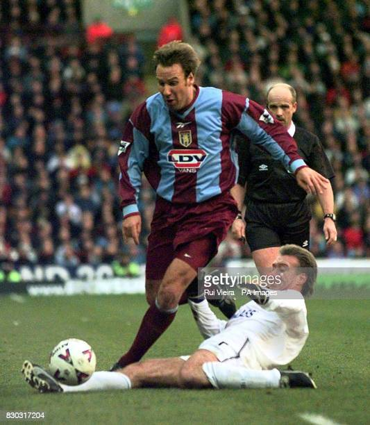 This picture can only be used within the context of an editorial feature Chelsea's Didier Deschamps tackles Aston Villa's Paul Merson during their FA...