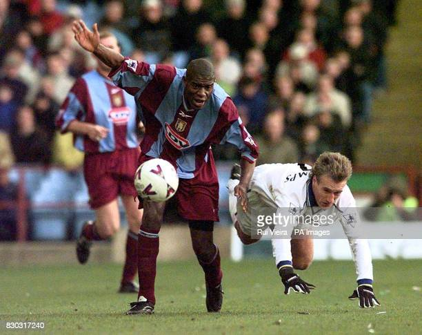 This picture can only be used within the context of an editorial feature Chelsea's Didier Deschamps tussles for the ball with Aston Villa's Ian...