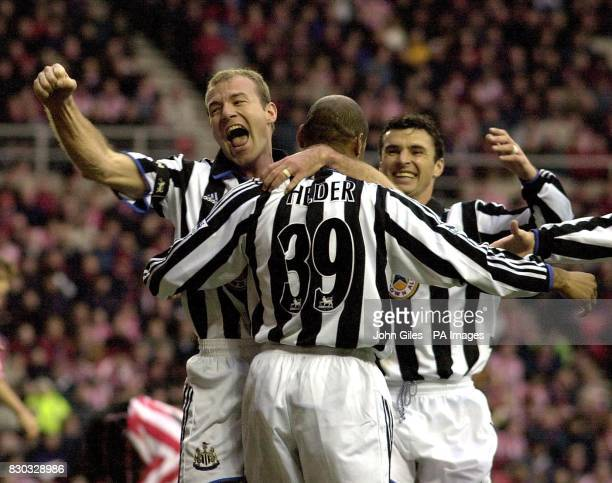 This picture can only be used within the context of an editorial feature Newcastle United's Alan Shearer celebrates Cristovao Helder's goal against...