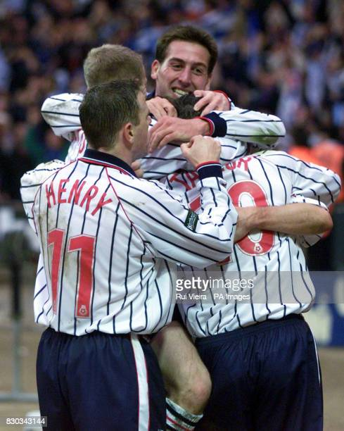 This picture can only be used within the context of an editorial feature Celebrations from Tranmere Rovers players after David Kelly scored the...
