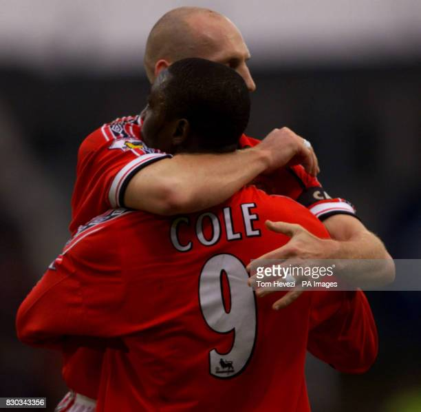 This picture can only be used within the context of an editorial feature Manchester United's Jaap Stam and Andy Cole celebrate Cole's equalizing goal...