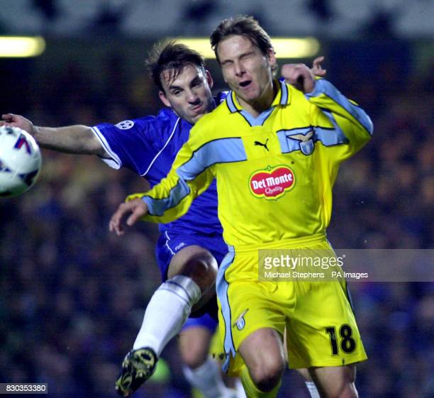 This picture can only be used within the context of an editorial feature Lazio's Pavel Nedved comes under pressure from Chelsea's Albert Ferrer...