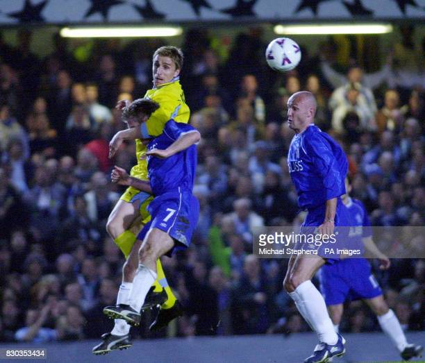 This picture can only be used within the context of an editorial feature Chelsea's Frank Leboeuf picks up the ball as his teammate Didier Deschamps...